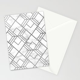 Geometrical white gray faux silver marble Stationery Cards