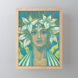 May Queen, Girl in Lily Flower Crown, Surreal Fantasy Portrait Framed Mini Art Print