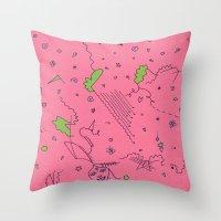 girly Throw Pillows featuring Girly by Amanda Trader