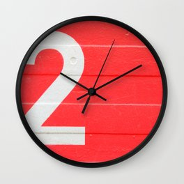 TWO on red Wall Clock