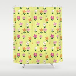 Colourful Flower Pattern on Yellow Background Shower Curtain