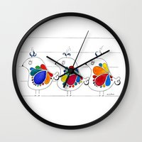 folk Wall Clocks featuring folk by Gosia&Helena