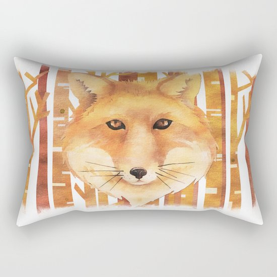 Fox in the forest- Animal abstract watercolor illustration on #Society6 Rectangular Pillow