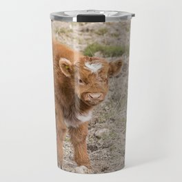 Scottish highlands baby cow Travel Mug