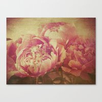 peonies Canvas Prints featuring Peonies by V. Sanderson / Chickens in the Trees