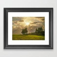 Sunset field Framed Art Print