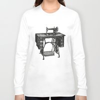 sewing Long Sleeve T-shirts featuring Singer sewing machine by eARTh