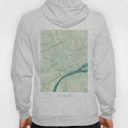 Detroit Map Blue Vintage Hoody