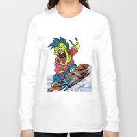 snowboarding Long Sleeve T-shirts featuring Snowboarding by Brain Drain Fox