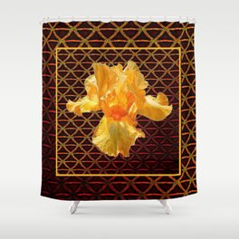 COFFEE BROWN ART PATTERN GOLDEN BEARDED IRIS Shower Curtain