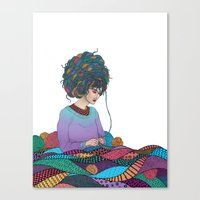 knitting Canvas Prints featuring Knitting by Fernanda Maya