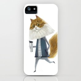 A cat holding a tumbler iPhone Case