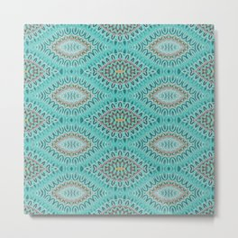 Teal Abstract Shell Vector Pattern Metal Print
