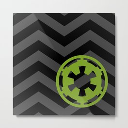 Imperial Cog on Black and Gray Chevrons Metal Print