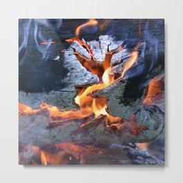 black white and flame Metal Print