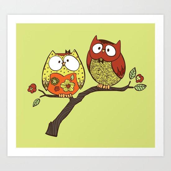 Decorative Owls Art Print