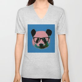 Panda with Nerd Glasses in Blue Unisex V-Neck