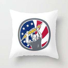 American Electrician USA Flag Icon Throw Pillow
