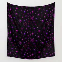 Atomic Starry Night in Neon Pink Glow Wall Tapestry
