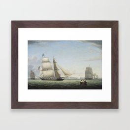 Fitz Henry Lane , Brig  Antelope in Boston Harbor, Framed Art Print