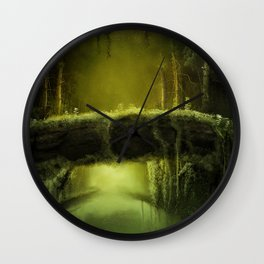 Green Mossy Forest with Bridge Fantasy Photo Wall Clock