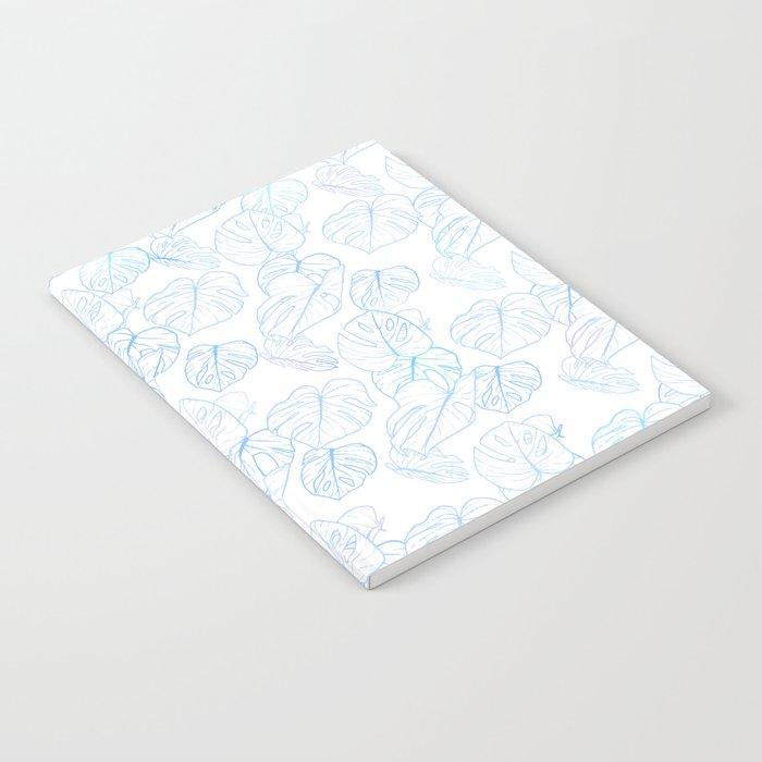 Monstera (White Glow) - Blue Notebook
