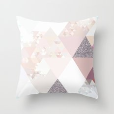 Triangles in glittering Rose quartz - pink glitter triangle pattern Throw Pillow