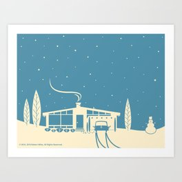 Mid-Century Snowscape in Blue Art Print