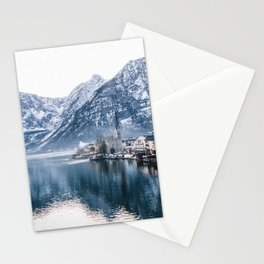 Snowy Mountain Town Stationery Cards