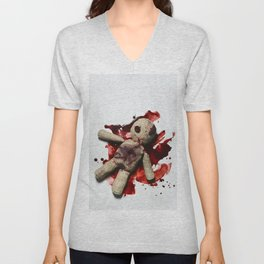 Bloody sack doll Unisex V-Neck
