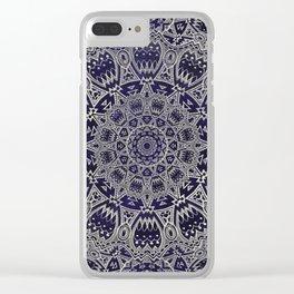 Cream Colored Mandala in Dark Blue Background Clear iPhone Case
