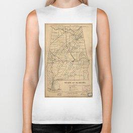 Vintage Map of Alabama (1866) Biker Tank