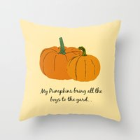 pumpkin Throw Pillows featuring Pumpkin by Laura Maria Designs