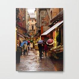 Shopping in the Rain Metal Print