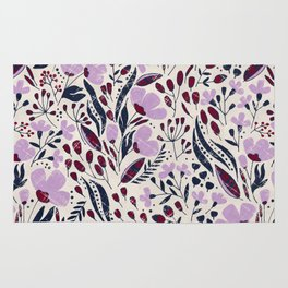 Navy and Orchid Floral Dance Rug