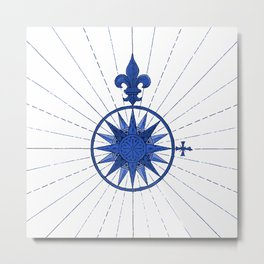Nautical French Blue Compass Rose Metal Print