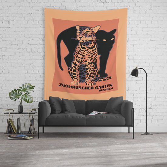 Retro vintage Munich Zoo big cats Wall Tapestry by aapshop  63d547046aa31