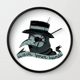 Plague doctor wash your hands cute spooky halloween  Wall Clock