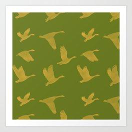 Flying Birds Pattern | Green Mood Art Print