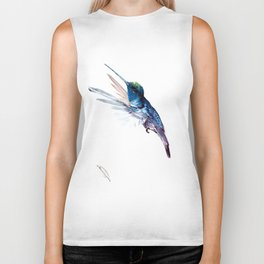 Hummingbird, Navy Blue Turquoise Artwork, minimalist bird art blue Biker Tank