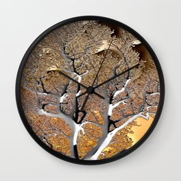 Abstract Post-Apo Landscape - Lone Tree, apocalyptic view, glowing quicksilver, orange, brown colors Wall Clock