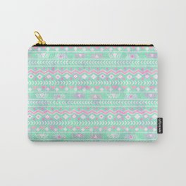 Pink teal watercolor tribal geometrical pattern Carry-All Pouch