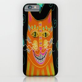 Smiling Cat Abstract Digital Painting  iPhone Case