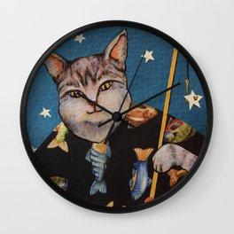 Cat Wishing Wall Clock