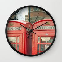 telephone Wall Clocks featuring Telephone by The Last Sparrow