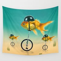 superheroes Wall Tapestries featuring gold fish  by mark ashkenazi
