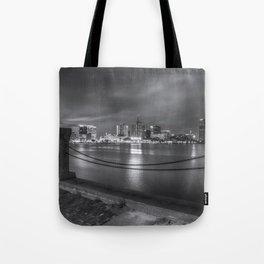 Norfolk Skyline II in Black and White Tote Bag