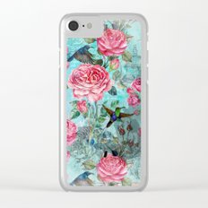 Vintage Watercolor hummingbird and English Roses on aqua Background Clear iPhone Case