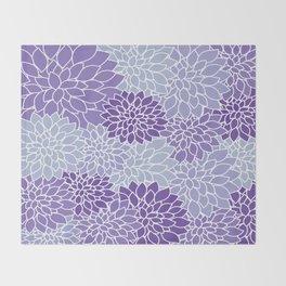 Ultra Violet Lavender Dahlias Throw Blanket