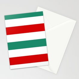 Large Horizontal Peppermint Stripes | Green Red and White  Stationery Cards